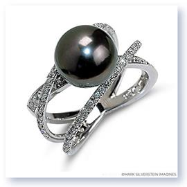 Mark Silverstein Imagines 18K White Gold Three Strand Crossover Diamond and Black South Sea Pearl Ring
