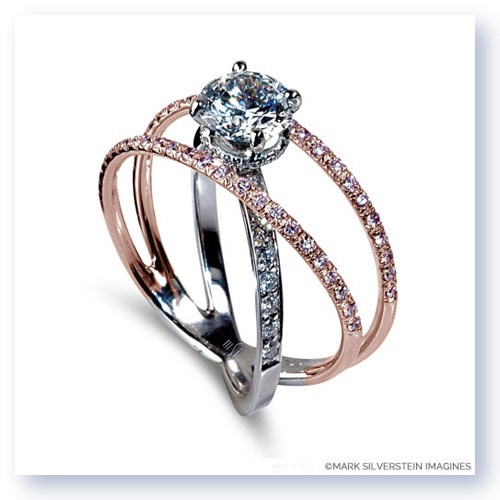 Two Tone 18k White And Rose Gold Three Strand Crossover Diamond Engagement Ring