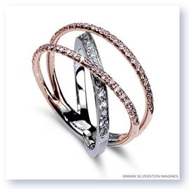 Mark Silverstein Imagines 18K White and Rose Gold Three Strand Crossover Pink and White Diamond Band