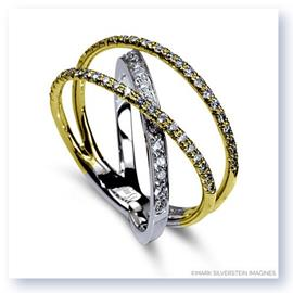 Mark Silverstein Imagines 18K White and Yellow Gold Three Strand Crossover Diamond Band