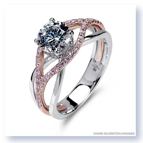 18K White Rose Gold Crossover Diamond Engagement Ring
