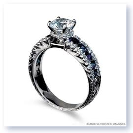 Mark Silverstein Imagines Hand Engraved 18K White Gold Sapphire and Diamond Engagement Ring