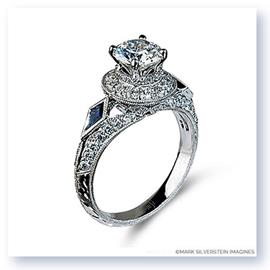 Mark Silverstein Imagines Hand Engraved 18K White Gold Diamond and Sapphire Engagement Ring