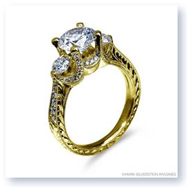 Mark Silverstein Imagines Hand Engraved 18K Yellow Gold Three Stone Engagement Ring