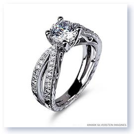 Mark Silverstein Imagines Hand Engraved 18K White Gold Split Shank Filigree Diamond Engagement Ring