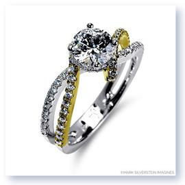 Mark Silverstein Imagines 18K White and Yellow Gold Bypass Diamond Engagement Ring