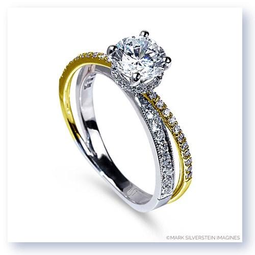 Mark Silverstein Imagines 18K White And Yellow Gold Split Shank Angled Diamond Engagement Ring