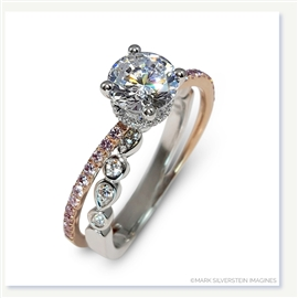Mark Silverstein Imagines 18K White and Rose Gold Split Shank Geometric Angled Diamond Engagement Ring