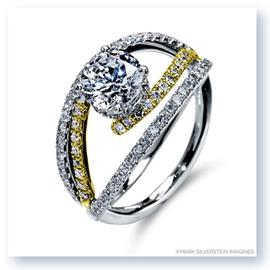 Mark Silverstein Imagines 18K White and Yellow Gold Split Shank Bypass Diamond Engagement Ring