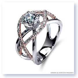 Mark Silverstein Imagines 18K White and Rose Gold Split Shank Crossover Semi Diamond Engagement Ring