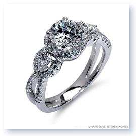 Mark Silverstein Imagines 18K White Gold Three Stone Split Shank Diamond Engagement RIng