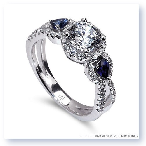 Mark Silverstein Imagines 18K White Gold Three Stone Split Shank Diamond And Sapphire Engagement RIng