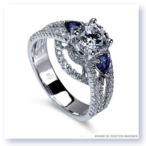 Mark Silverstein Imagines 18K White Gold Three Stone Cathedral Style Diamond and Sapphire Engagement Ring