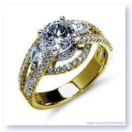 Mark Silverstein Imagines 18K Yellow Gold Three Stone Cathedral Style Diamond Enagagement Ring