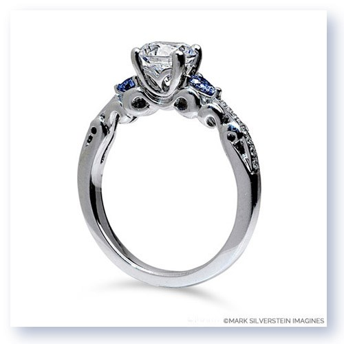 Mark Silverstein Imagines 18K White Gold Three Curl Diamond and Sapphire Engagement Ring