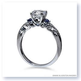 Mark Silverstein Imagines 18K White Gold Sculpted Filigree Diamond and Sapphire Enagagement Ring