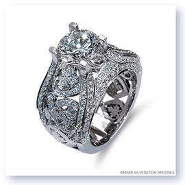 Mark Silverstein Imagines 18K White Gold Wide Diamond Heart and Leaf Engagement Ring