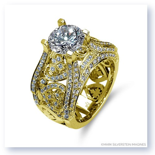 Mark Silverstein Imagines 18K Yellow Gold Wide Diamond Heart and Leaf Engagement Ring
