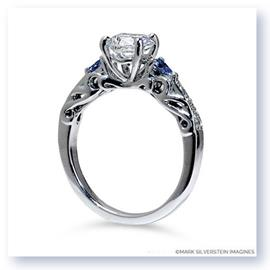 Mark Silverstein Imagines 18K White Gold Sculpted Design Diamond and Sapphire Enagagement Ring