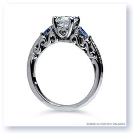 Mark Silverstein Imagines 18K White Gold Sculpted Curls Diamond and Sapphire Enagagement Ring