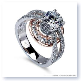 Mark Silverstein Imagines 18K White and Rose Gold Three Strand Halo Diamond Enagagement Ring