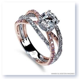 Mark Silverstein Imagines 18K White and Rose Gold Triple Band Crossover Pink and White Diamond Engagement Ring