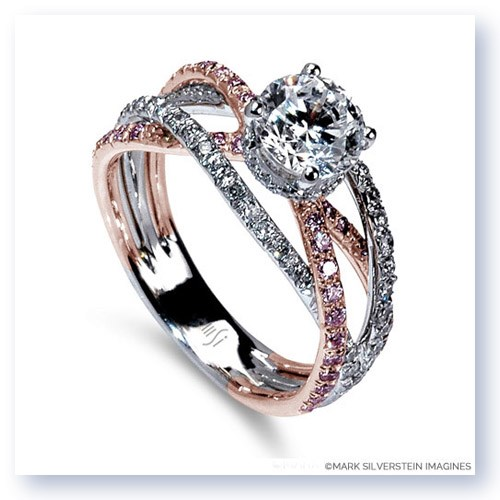 White and Rose Gold Triple Band Crossover Pink and White Diamond