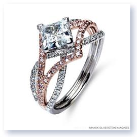 Mark Silverstein Imagines 18K White and Rose Gold Three Strand Crossover Edgy Pink and White Diamond Engagement Ring