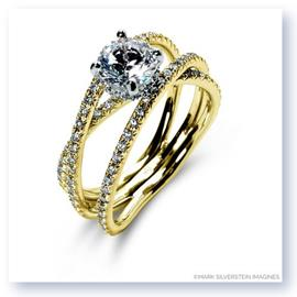 Mark Silverstein Imagines 18K Yellow Gold Double Band Crossover Diamond Engagement Ring