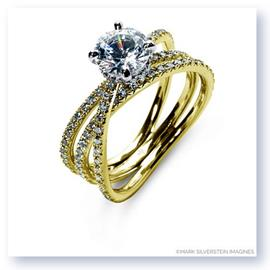 Mark Silverstein Imagines 18K Yellow Gold Double Row Single Crossover Diamond Engagement Ring
