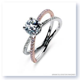 Mark Silverstein Imagines 18K White and Rose Gold Double Loop Pink and White Diamond Engagement Ring
