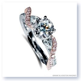 Mark Silverstein Imagines 18K White and Rose Gold Pear Side Stone Twist Pink and White Diamond Engagement Ring