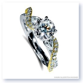 Mark Silverstein Imagines 18K White and Yellow  Gold Pear Side Stone Twist Diamond Engagement Ring