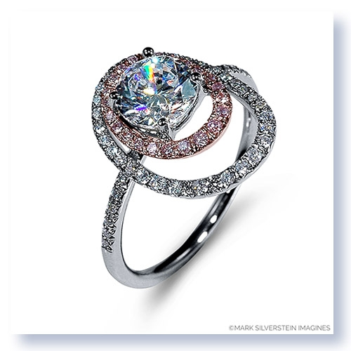 Mark Silverstein Imagines 18K White and Rose Gold Double Round Halo Pink and White Diamond Engagement Ring
