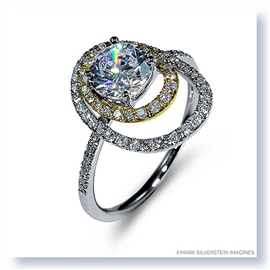 Mark Silverstein Imagines 18K White and Yellow Gold Double Round Halo Diamond Engagement Ring