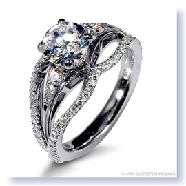 Mark Silverstein Imagines 18K White Gold Triple Band Diamonds Engagement Ring