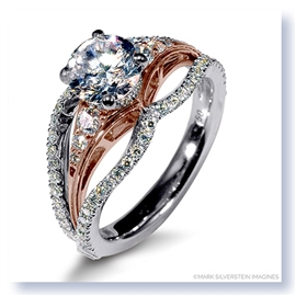 Mark Silverstein Imagines 18K White and Rose Gold Triple Band with White Diamonds Engagement Ring