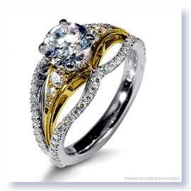Mark Silverstein Imagines 18K White and Yellow Gold Triple Band Diamonds Engagement Ring