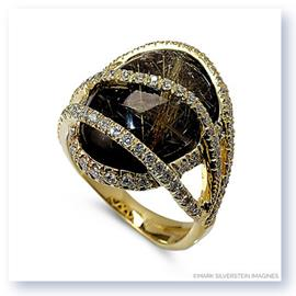 Mark Silverstein Imagines 18K Yellow Gold Rutilated Quartz Over Onyx Fashion Ring