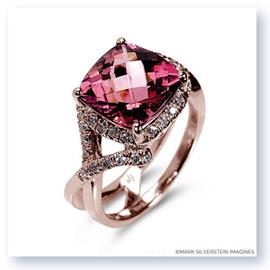 Mark Silverstein Imagines 18K Rose Gold Pink Tourmaline Crossover Diamond Fashion Ring