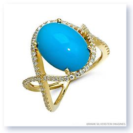Mark Silverstein Imagines 18K White Gold  Turquoise and Diamond  Crossover Cocktail Ring