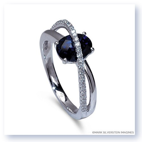 Mark Silverstein Imagines 18K White Gold Blue Sapphire and Diamond Crossover Fashion Ring