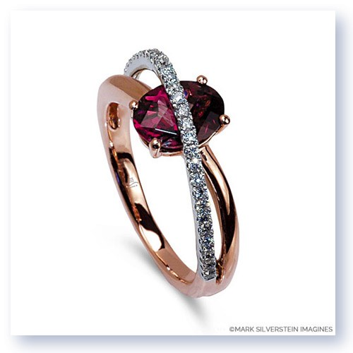 Mark Silverstein Imagines 18K White and Rose Gold Pink Tourmaline and Diamond Crossover Fashion Ring