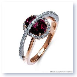 Mark Silverstein Imagines 18K White and Rose Gold Pink Tourmaline and Diamond Halo Right Hand Ring