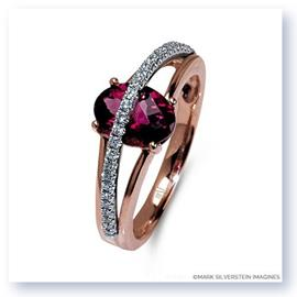 Mark Silverstein Imagines 18K White and Rose Gold Pink Tourmaline and Diamond Split Shank Right-Hand Ring