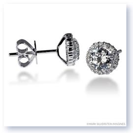 Mark Silverstein Imagines 18K White Gold 4mm Diamond Halo Stud Earrings