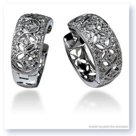 Mark Silverstein Imagines 18K White Gold Wide Art Deco Inspired Diamond Huggie Earrings