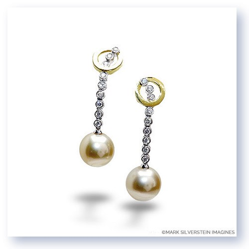 Mark Silverstein Imagines 18K White and Yellow Gold Diamond and Pearl Dangle Earrings