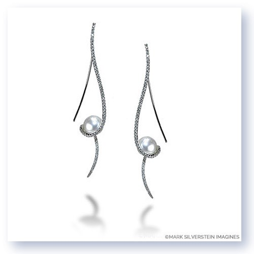 Mark Silverstein Imagines 18K White Gold Clef Diamond and Fresh Water Pearl Earrings