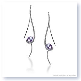 Mark Silverstein Imagines 18K White Gold Clef Diamond and Dyed Fresh Water Pearl Earrings
